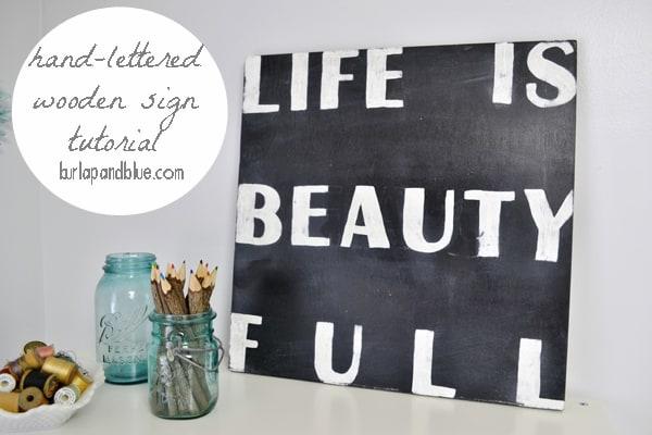 hand lettered sign