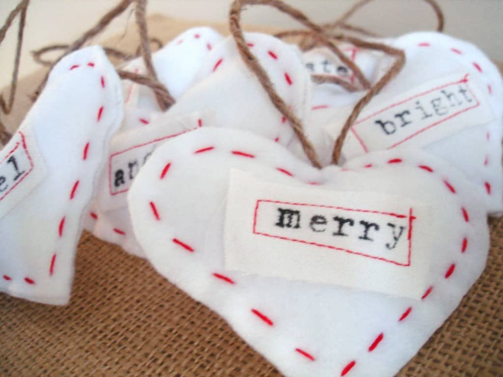 typography heart ornaments burlap+blue