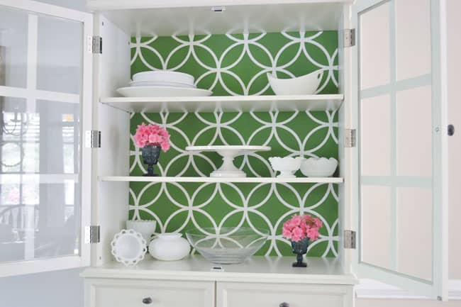 royal design studio stenciled china cabinet