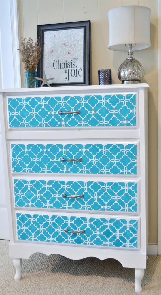 stenciled dresser makeover by burlap+blue