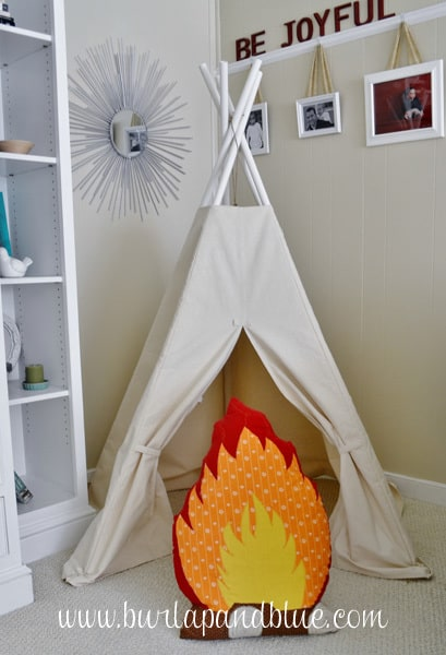 DSC 0002 copy kids canvas teepee and campfire pillow