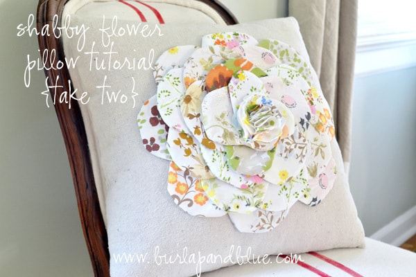 flower pillow tutorial with vintage fabrics