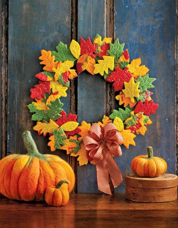 Cookie wreath and felted pumpkins from country living