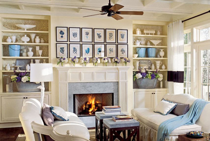Home inspiration cozy family rooms and bedrooms burlap and blue for Living room and family room ideas