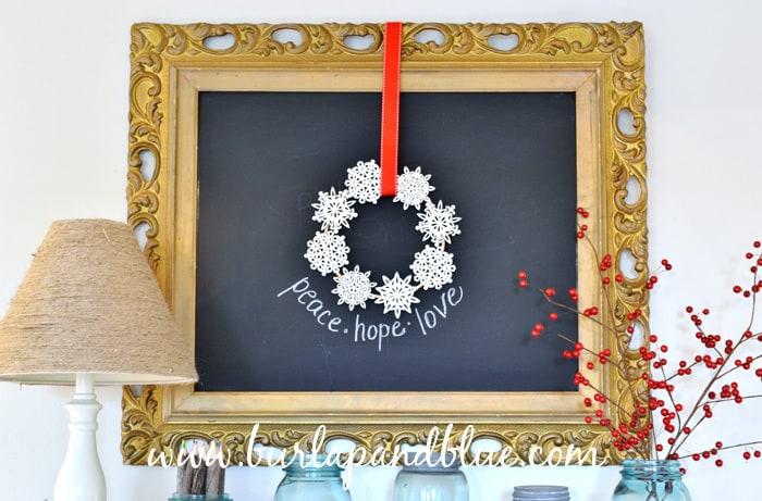 christmas decor/snowflake wreath burlap+blue