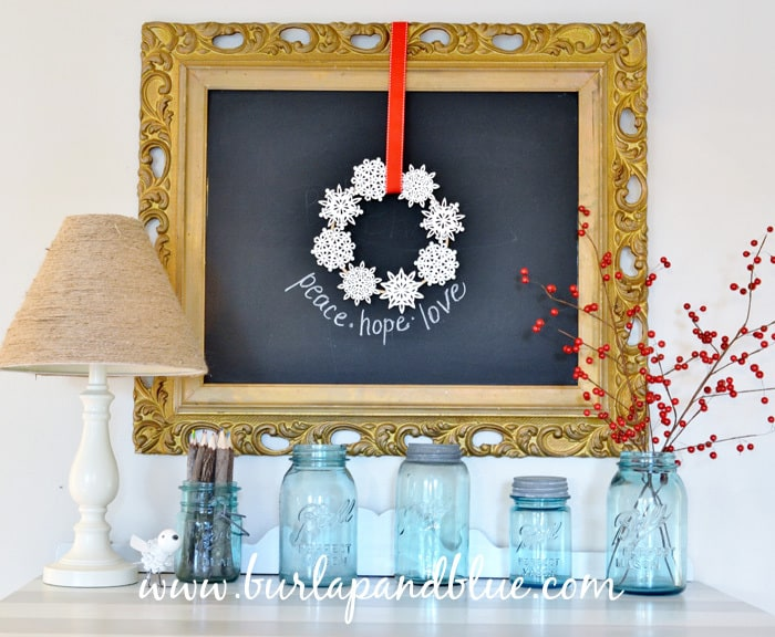 christmas decor/snowflake wreath burlap+blue