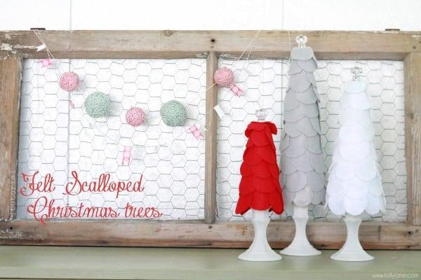 felt scalloped christmas trees1 600x400 50 favorite christmas crafts
