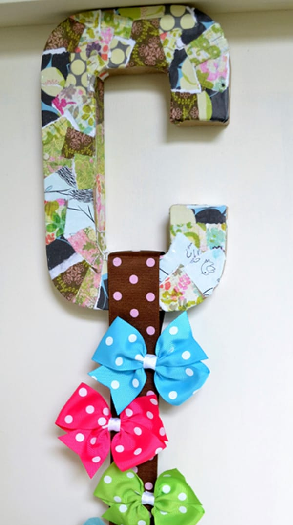mod podged initial bow holder