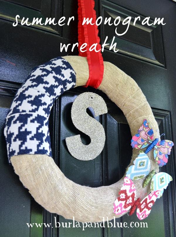 summer monogram wreath by burlap+blue
