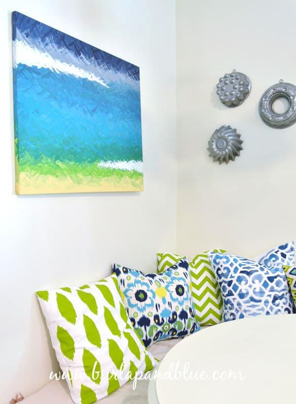 painted canvas burlap+blue