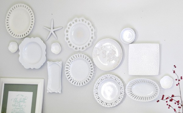 DSC 0006 3 white plate wall + the cheaters way of hanging plates