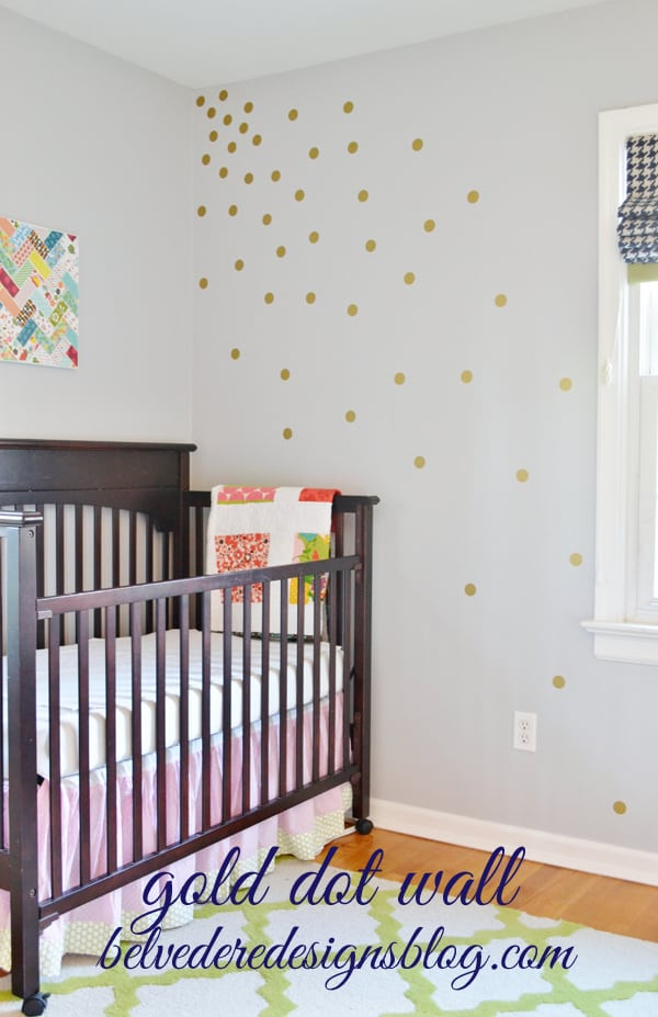 Belvedere designs gold polka dot wall tutorial for Polka dot wall decals for kids rooms