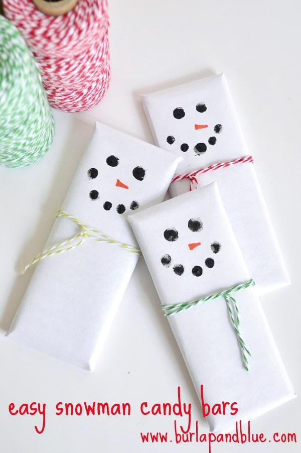 snowman candy bars