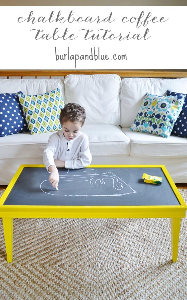 chalkboard coffee table burlap