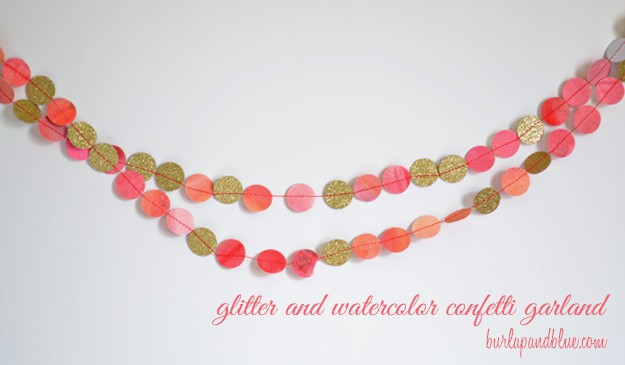 glitter and watercolor garland