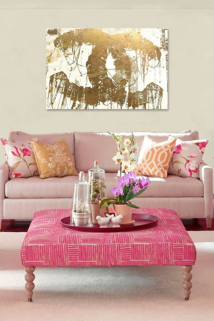 Pink Living Room Design: Pink And Gold Rooms