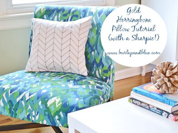 gold sharpie pillow tutorial
