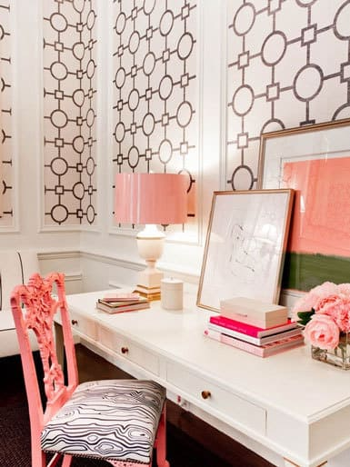 Pink and gold rooms for Decoration bureau maison
