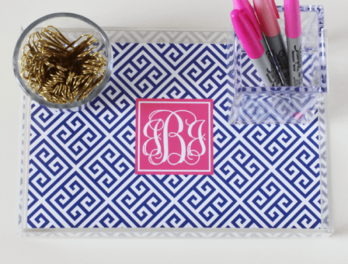 greek-key-monogram-acrylic-tray-insert-navy-hot-pink-500x380