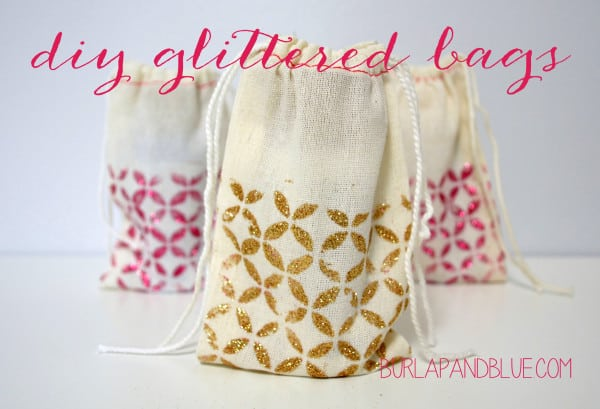 diy glittered bags