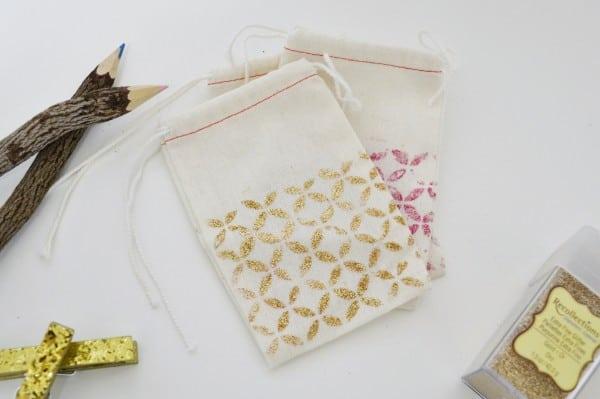 glittered bags diy