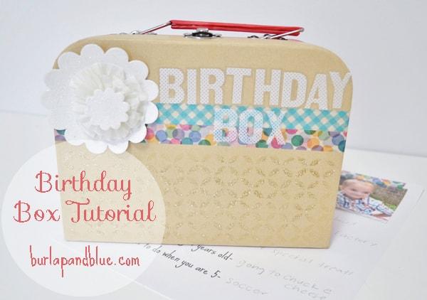 birthday box tutorial burlap and blue
