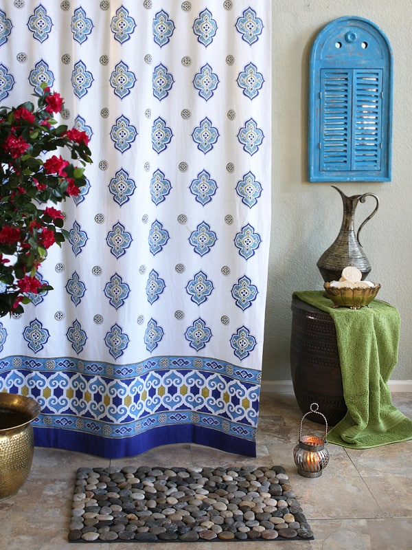 c moroccan style quatrefoil print white shower curtain on trend {ethnic and tribal prints}