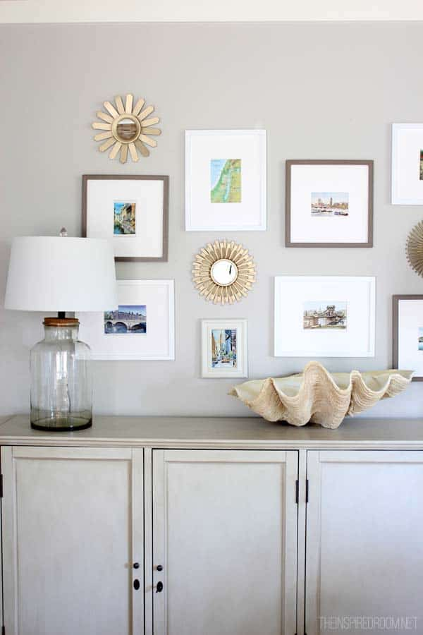 Summer Family Room Console Cabinet and Gallery Wall The Inspired Room home tour {the inspired room}