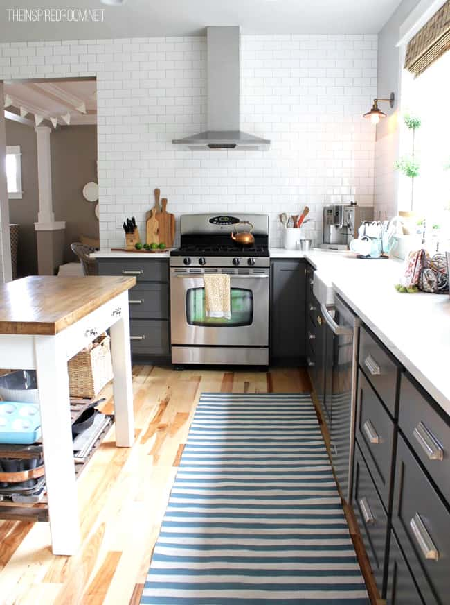 kitchen makeover with subway tile gray cabinets and white countertops1 home tour {the inspired room}