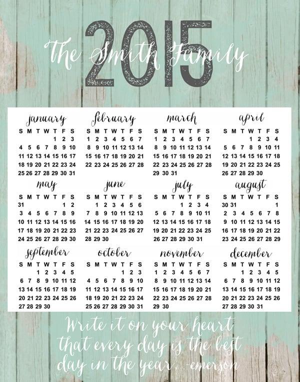 calendar quote sea foam green copy etsy 2015 personalized calendars {new in the shop!}
