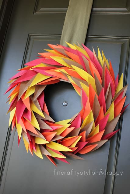 fall thanksgiving paper leaf wreath