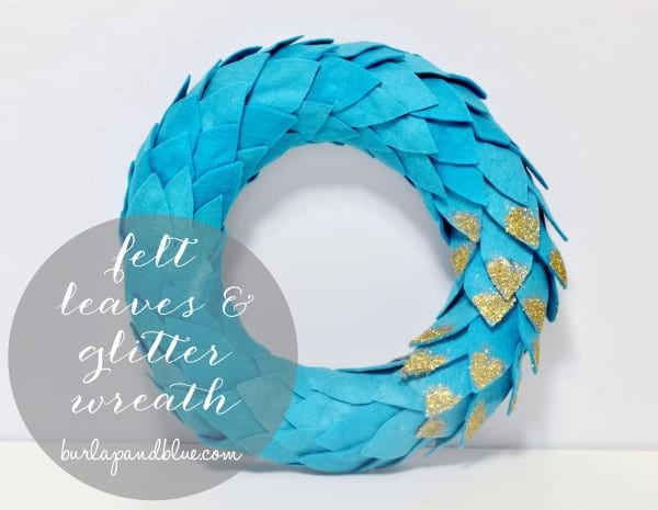 felt leaves glitter wreath 600x465 felt & glitter wreath {a tutorial}