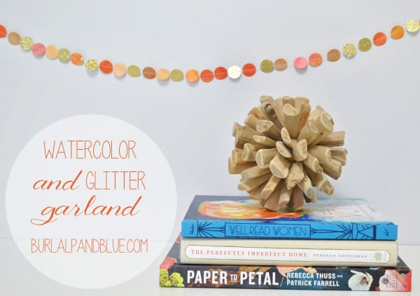 watercolor glitter garland 600x423 watercolor garland for fall {a tutorial}