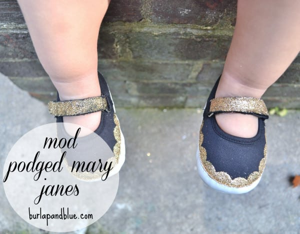 mod podged shoes burlap blue