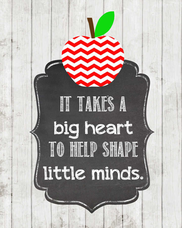 image relating to It Takes a Big Heart to Shape Little Minds Printable identify Instructor Reward Thought