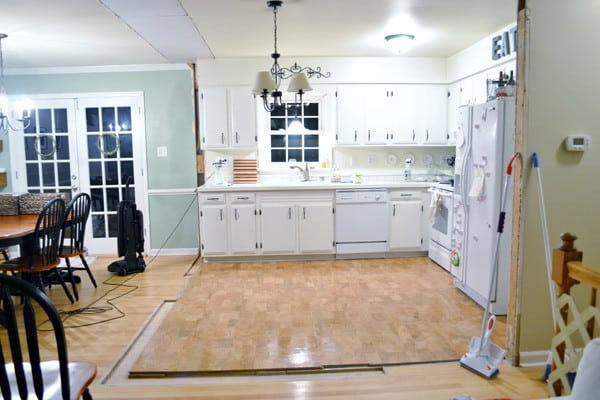 kitchen before burlap and blue