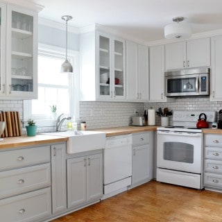 our new gray and white kitchen–before and after