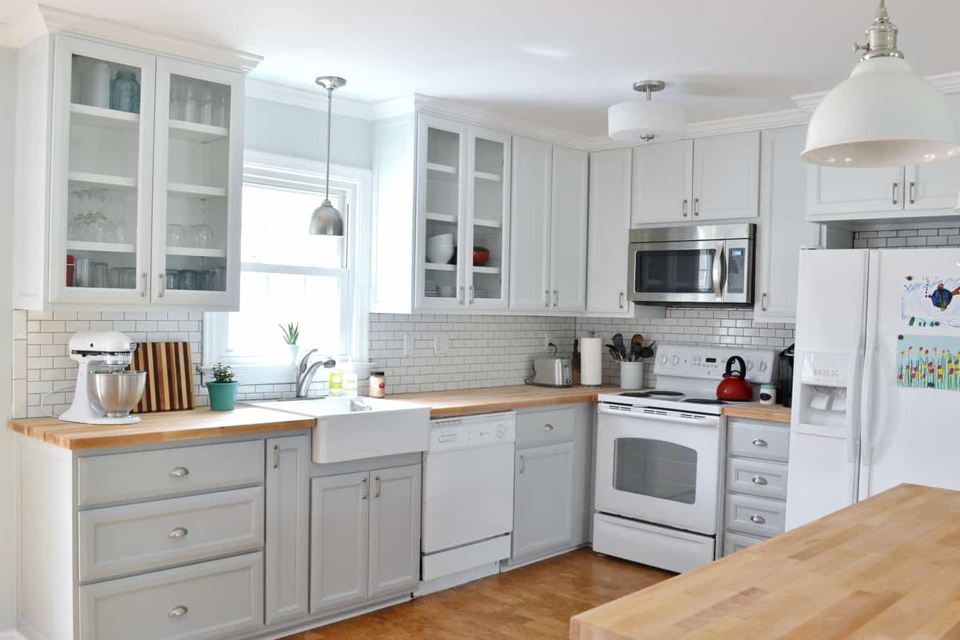 Our updated gray and white kitchen makeover for Can i paint ikea kitchen cabinets