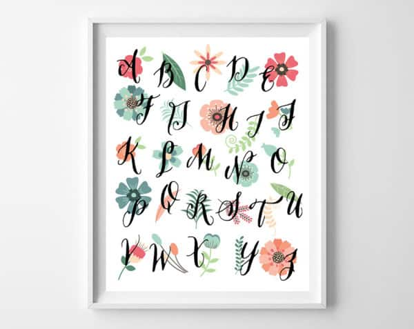 floral abc printable