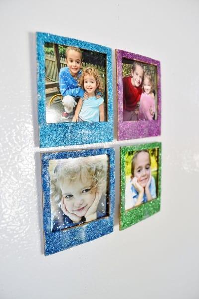glittered polaroid frames