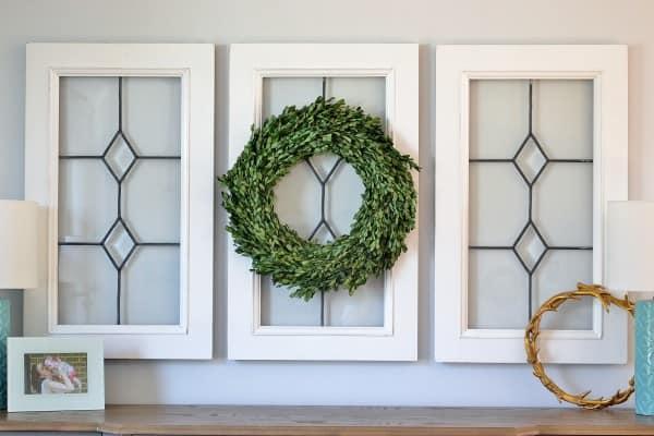 boxwood wreath window pane