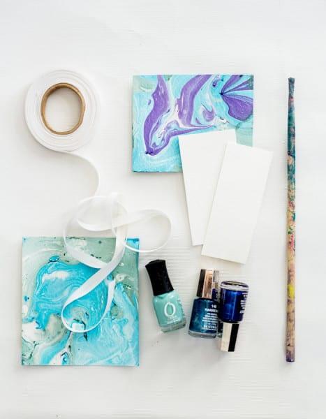 nail polish crafts burlap and blue