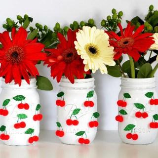 mason jar centerpiece {cheery summer cherries!}