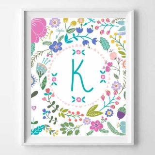 free printable art {girl initial prints}