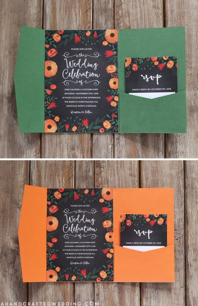 free-floral-chalkboard-invitation-with-green-or-orange-pocketfold-ahandcraftedwedding.com_