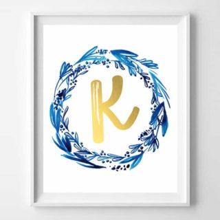 free printable initial art {indigo + gold}