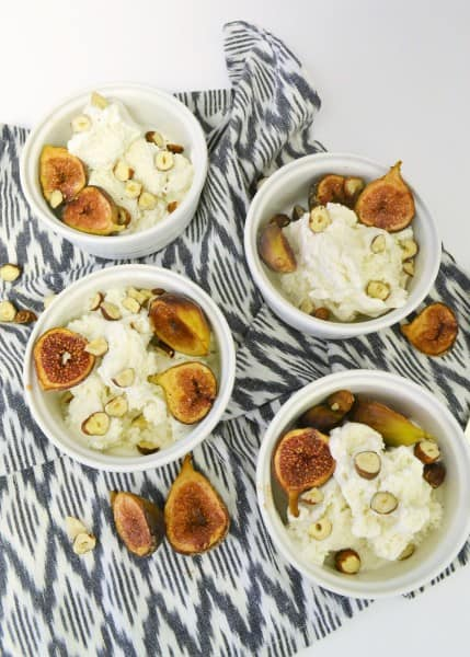 spiced roasted figs with hazelnuts and vanilla ice cream {a recipe}