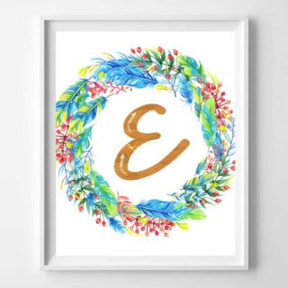 initial printable art {feathers & berries}