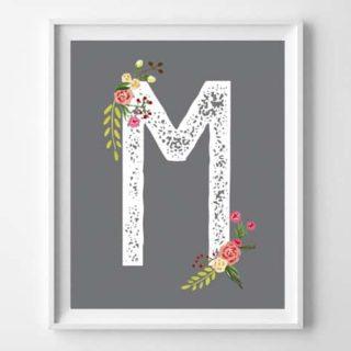floral initial art printables