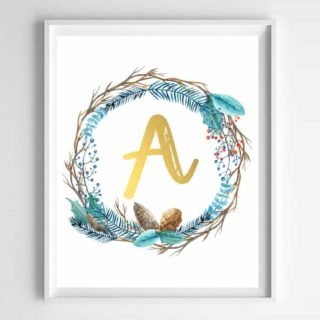 winter wreath free initial printables